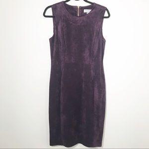 Calvin Klein Faux Suede Sleeveless Purple Dress